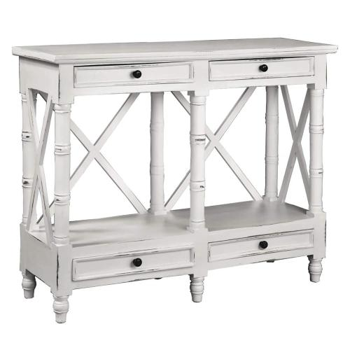 Sunset Trading - X Console Table - Distressed White