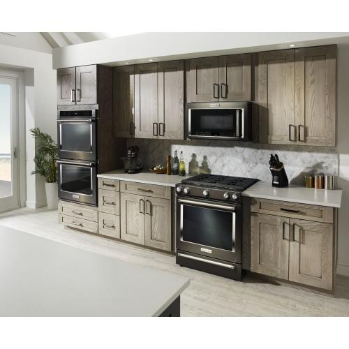 FLOOR MODEL 30-Inch 5-Burner Gas Slide-In Convection Range - Black Stainless Steel with PrintShield™ Finish