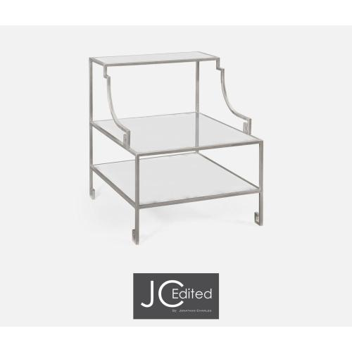 Three-tier silver iron end table
