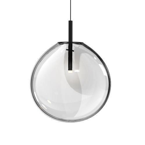 Sonneman - A Way of Light - Cantina LED Pendant [Size=Large, Color/Finish=Satin Black w/Clear Glass]