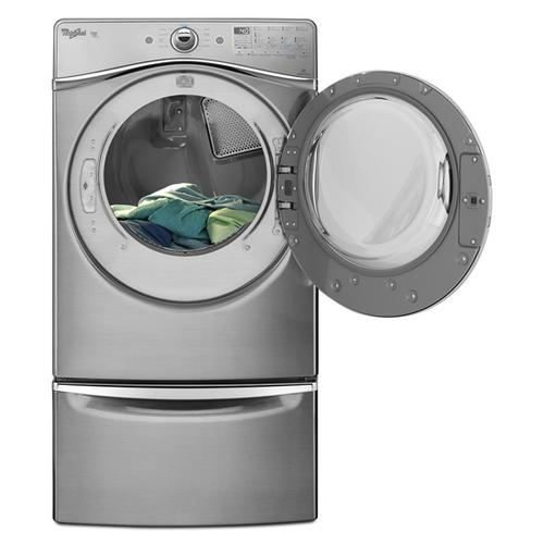 """Amana - 15.5"""" Pedestal for Front Load Washer and Dryer with Storage - chrome"""