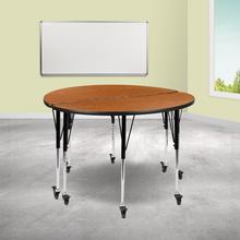 "See Details - 2 Piece Mobile 47.5"" Circle Wave Flexible Oak Thermal Laminate Adjustable Activity Table Set"