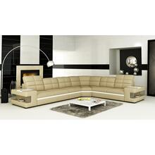 Divani Casa 6131 Modern Beige and White Bonded Leather Sectional Sofa