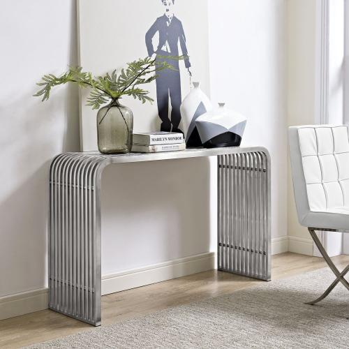 Pipe Stainless Steel Console Table in Silver