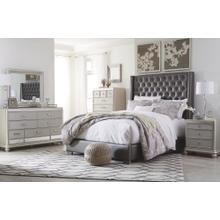 Queen Upholstered Bed With Mirrored Dresser, Chest and 2 Nightstands