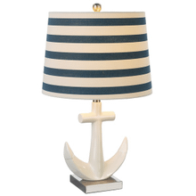 White Anchor with Striped Shade Table Lamp. 60W Max. (CB173185) (4 pc. assortment)