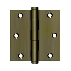 """Deltana - 3-1/2"""" x 3-1/2"""" Square Hinge, Residential - Antique Brass"""