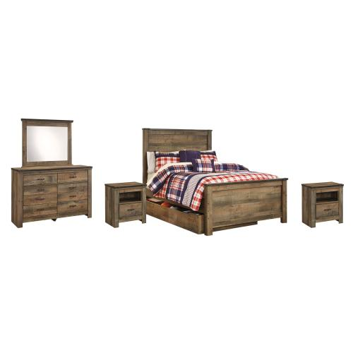 Full Panel Bed With 1 Storage Drawer With Mirrored Dresser and 2 Nightstands