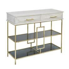 Wood / Iron 2 Drawer Console W/ Glass Shelves, Whi