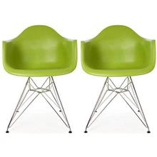 See Details - Modern Eiffel Style Arm Chair with Chromed Steel Legs - Reproduction - Set-of-2, Green