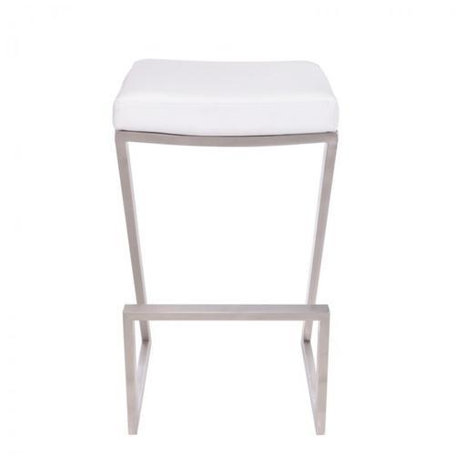 "Armen Living - Armen Living Atlantis 26"" Backless Barstool in Brushed Stainless Steel finish with White Pu upholstery"