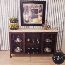 "See Details - Western Chic Travertine Wine rack - Buffet Cabinet - 1230 - 59""X12"" / Peach Chiseled / Chocolate Espresso"