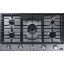 """See Details - Transitional 36"""" Gas Cooktop, Silver Stainless Steel, Natural Gas/Liquid Propane"""