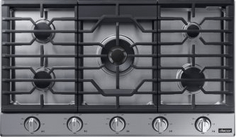 """Transitional 36"""" Gas Cooktop, Silver Stainless Steel, Natural Gas/Liquid Propane"""