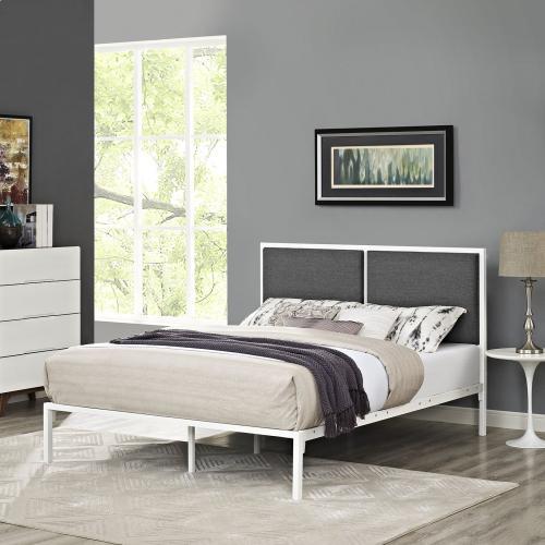 Della King Fabric Bed in White Gray