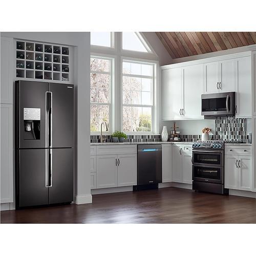 Samsung - 28 cu. ft. 4-Door Flex™ Refrigerator with FlexZone™ in Black Stainless Steel