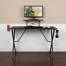 Black Gaming Desk with Cup Holder, Headphone Hook, and Monitor\/Smartphone Stand