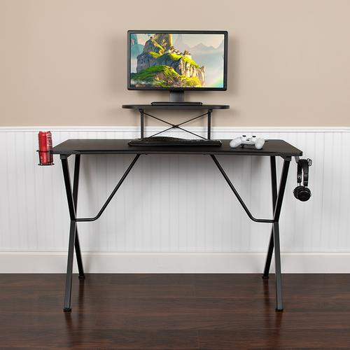 Flash Furniture - Black Gaming Desk with Cup Holder, Headphone Hook, and Monitor\/Smartphone Stand