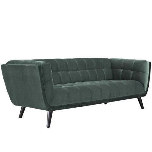 Bestow 3 Piece Performance Velvet Sofa and Armchair Set in Green