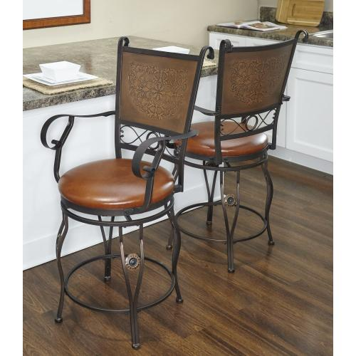 Upholstered Seat and Copper Stamped Back Swivel Counter Stool With Arms, Bronze Powder Coat