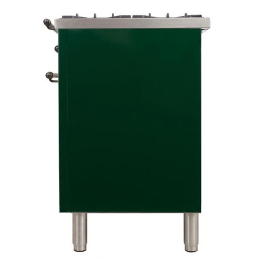 Nostalgie 60 Inch Dual Fuel Liquid Propane Freestanding Range in Emerald Green with Bronze Trim