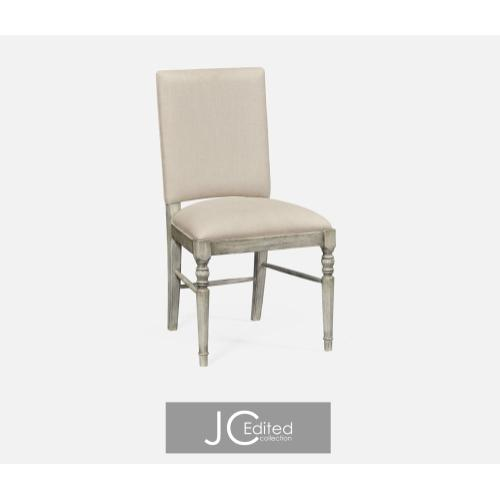 Rustic grey upholstered side chair