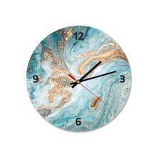 Blue & Gold Abstract Round Acrylic Wall Clock