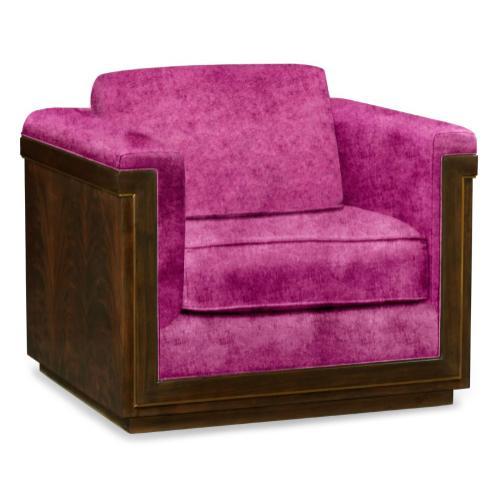 36'' Antique Mahogany Brown High Lustre Sofa Chair, Upholstered in Fuschia Velvet