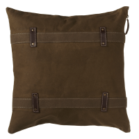 Antique Canvas Pillow with Double Strap and Faux Leather Accents Product Image