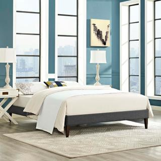 Product Image - Tessie Queen Fabric Bed Frame with Squared Tapered Legs in Gray