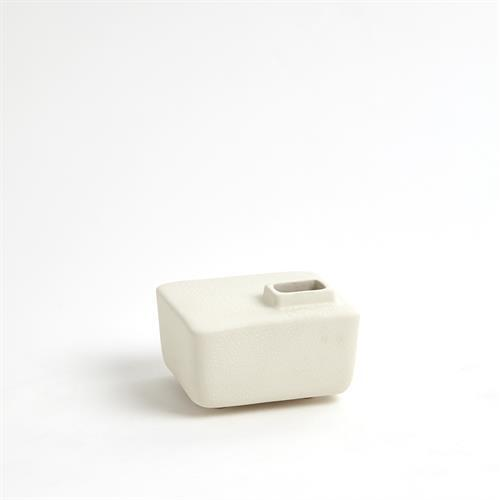 Square Chimney Vase-White-Med