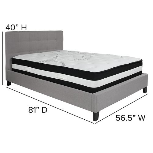 Chelsea Full Size Upholstered Platform Bed in Light Gray Fabric with Pocket Spring Mattress