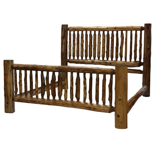 Small Spindle Bed - Double - Vintage Cedar