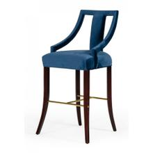 Modrest Kimball - Glam Blue Velvet Bar Stool