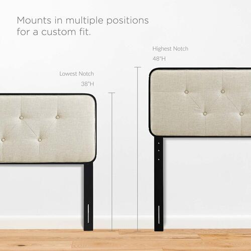 Collins Tufted King Fabric and Wood Headboard in Black Beige