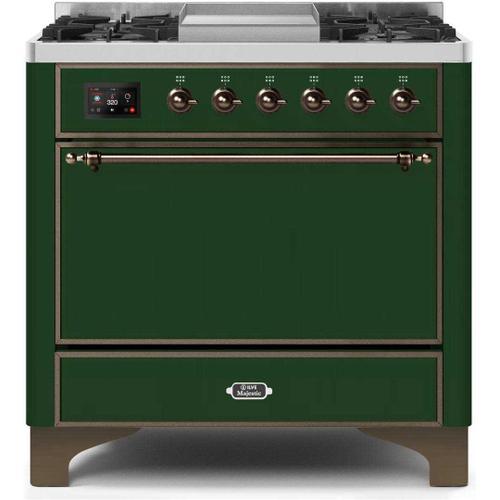Majestic II 36 Inch Dual Fuel Natural Gas Freestanding Range in Emerald Green with Bronze Trim