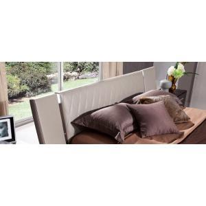Modrest Denmark - Modern Grey & Brown Oak Bed w/ Lights