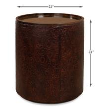 Leather Embossed Drum Side Table