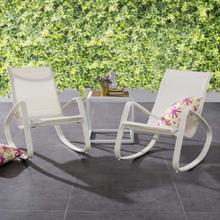 Traveler Rocking Lounge Chair Outdoor Patio Mesh Sling Set of 2 in White White