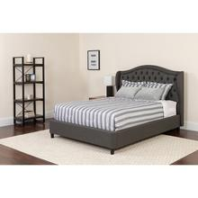 Valencia Tufted Upholstered Queen Size Platform Bed in Dark Gray Fabric with Pocket Spring Mattress
