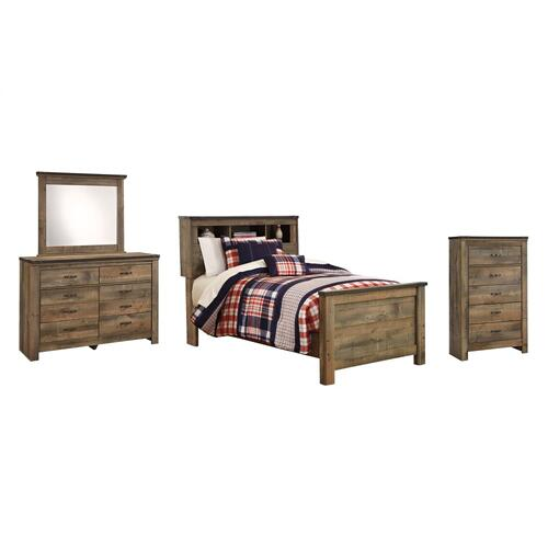 Twin Bookcase Bed With Mirrored Dresser and Chest