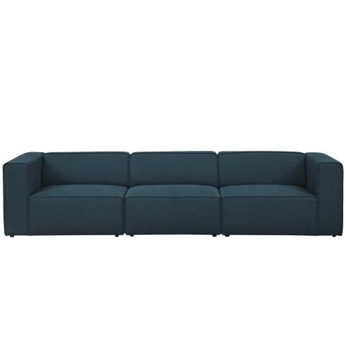 Mingle 3 Piece Upholstered Fabric Sectional Sofa Set in Blue