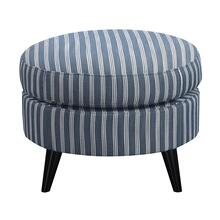 Oscar Round Ottoman Blue Stripe