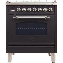See Details - Nostalgie 30 Inch Dual Fuel Natural Gas Freestanding Range in Matte Graphite with Chrome Trim