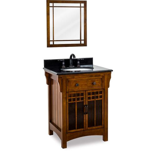 """26-5/8"""" vanity with Chestnut finish and amber-colored mica glass door inserts with preassembled top and bowl."""