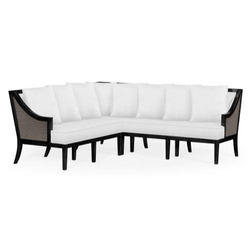 Dark Grey Rattan Outdoor Corner Sofa, Upholstered in COM
