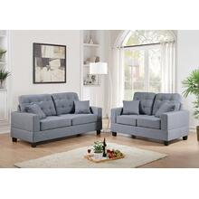 Ramla 2pc Loveseat & Sofa Set, Grey