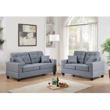 Ramla 2pc Loveseat & Sofa Set, Grey
