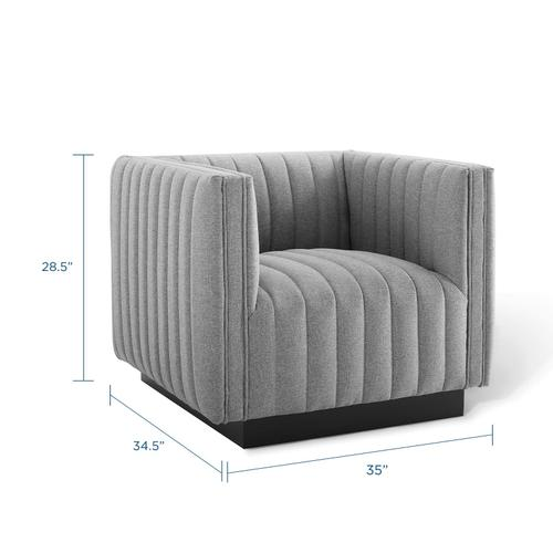 Conjure Tufted Armchair Upholstered Fabric Set of 2 in Light Gray