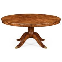 """66"""" Walnut extending circular dining table with storage cabinet for leaves"""